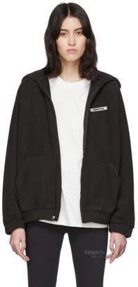 Essentials Black Polar Fleece Full Zip Hoodie