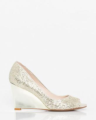 Le Château Glitter Mesh Peep Toe Wedge