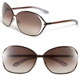 Tom Ford 'Carla' 66mm Oversized Round Metal Sunglasses
