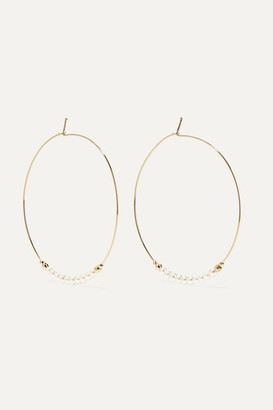 Mizuki 14-karat Gold Pearl Hoop Earrings