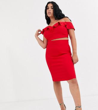 Vesper Plus two-piece midi skirt in red