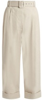Isa Arfen Safari tapered-leg cropped linen-blend trousers