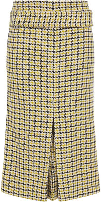 Victoria Beckham Belted Pleated Checked Jacquard Midi Skirt