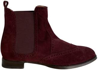 Hermes Brighton Burgundy Suede Ankle boots
