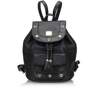 MCM Black Leather Backpack