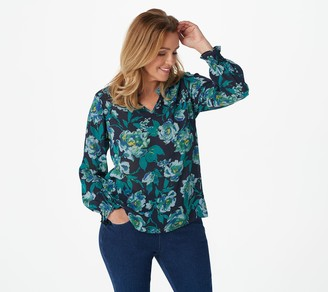 Joan Rivers Classics Collection Joan Rivers Floral Print Woven Pullover Blouse with Smocked Cuffs