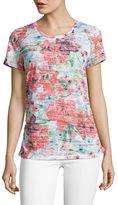 Haggar Petite Short Sleeve Floral Burnout T-Shirt