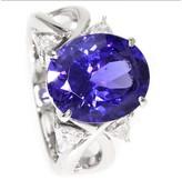 Mikimoto 950 Platinum Tanzanite & Diamond Ring Size 6.25