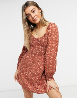 Hollister short dress in burnt orange floral print