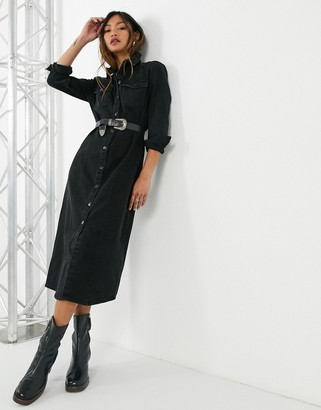 Only denim midi shirt dress in black