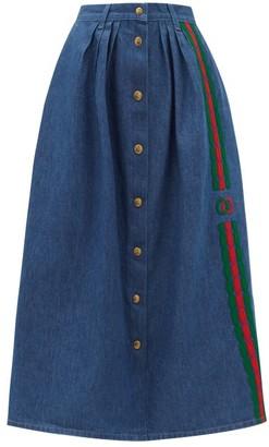 Gucci Web Stripe-embroidered Denim Midi-skirt - Womens - Blue Multi