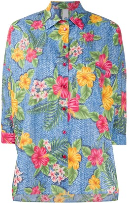 Ultràchic cropped sleeve Hawaii print shirt