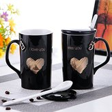 TAWLD mugs Mug For Coffee Milk Tea Drink, Couples Ceramic Mug , Cup Coffee Cup , With Cover And Spoon , 13×7.5Cm,Black