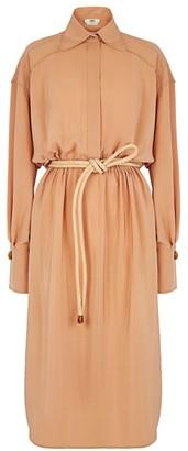 Fendi Belted Silk Crepe Shirtdress