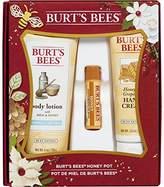 Burt's Bees Honey Pot Holiday Gift Set, 3 Honey Skin Care Products - Milk & Honey Body Lotion, Honey & Grapeseed Hand Cream and Honey Lip Balm