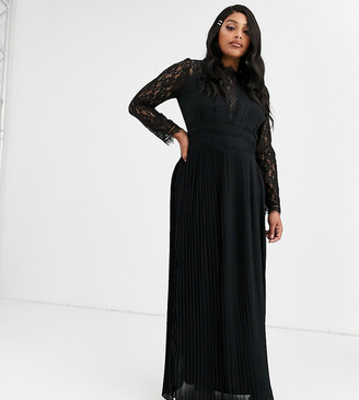 TFNC Plus Plus Bridesmaid high neck long sleeve pleated maxi dress with lace inserts in black