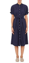 Sea Women's Checked Cotton Shirtdress-Navy
