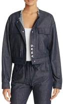 DKNY Pure Drop Shoulder Crop Denim Jacket
