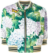 Dolce & Gabbana hydrangea print bomber jacket