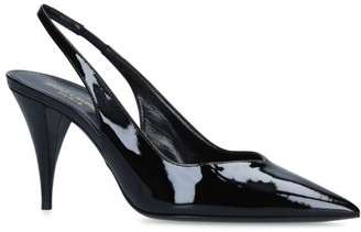 Saint Laurent Patent Kiki Slingback Heels 85