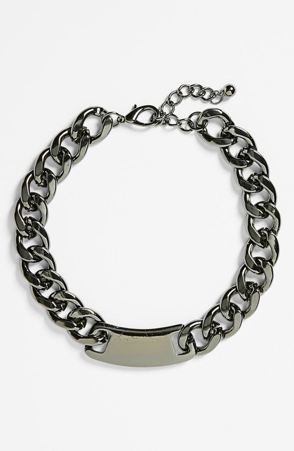 Stephan & Co ID Plate Chunky Chain Necklace (Juniors) (Online Only)