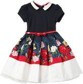 MonnaLisa Embroidered Jersey & Taffeta Dress