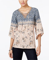Style&Co. Style & Co Petite Printed Lace-Up Angel-Sleeve Top, Only at Macy's