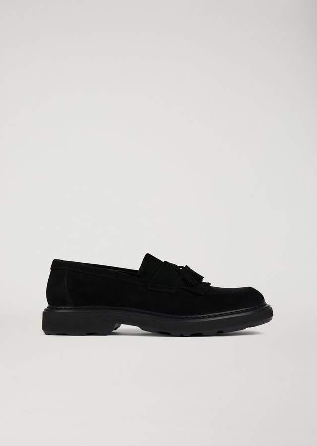 Emporio Armani Suede Leather Loafers With Tassels
