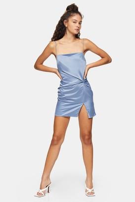 Topshop Blue Twist Front Slip Mini Dress