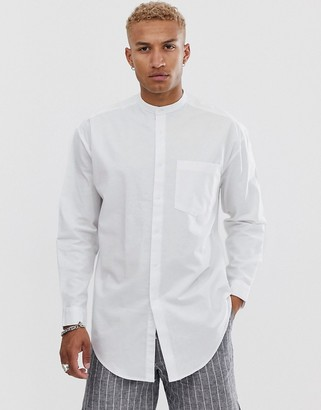 Asos Design DESIGN oversized super longline oxford shirt in white