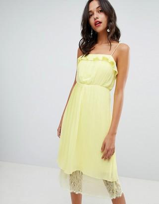 Vila pleated ruffle midi dress with lace hem in yellow