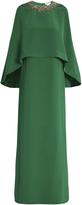 Oscar de la Renta Embellished cape-overlay silk-cady gown