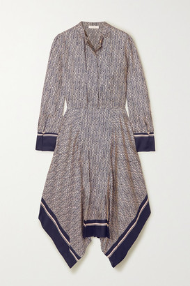 Chloé Asymmetric Printed Silk-twill Midi Dress - Blue