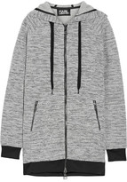 Karl Lagerfeld Embroidered Bonded Tweed Hooded Top - Light gray