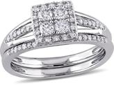 Julie Leah 1/2 CT TW Diamond 10K White Gold 2-Piece Square Halo Cluster Bridal Set
