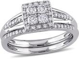 Julie Leah 1/2 CT TW Diamond 10K White Gold 2-Piece Square Halo Cluster Bridal Set