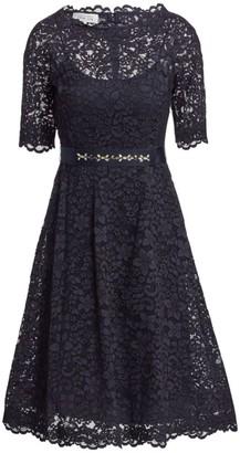 Teri Jon By Rickie Freeman Lace Flared Dress