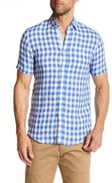 Report Collection Short Sleeve Checkered Linen Regular Fit Shirt