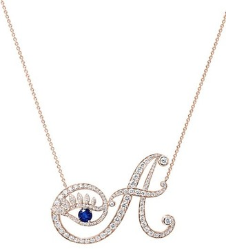 Tabayer Eye 18K Rose Gold, Sapphire & Diamond Authentic Pendant Necklace