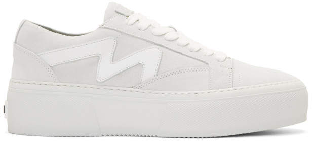 MSGM White Suede Logo Platform Sneakers