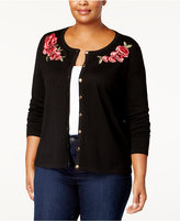 Karen Scott Plus Size Embroidered Cardigan, Created for Macy's