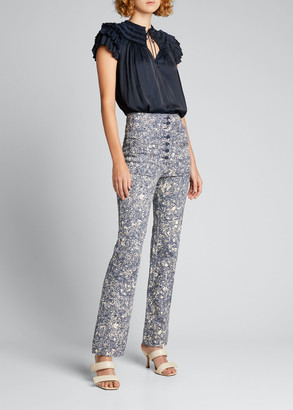 Ulla Johnson Mars Printed High-Rise Jeans