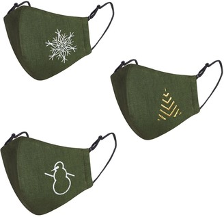 Face My Mask Pack Of 3 Moss Green Linen Cotton Face Mask With Filter Pocket & Christmas Embroidery