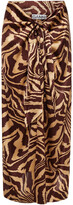 Thumbnail for your product : Ganni Knotted Tiger-print Stretch-silk Satin Midi Skirt