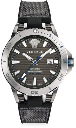 Versace Sport Tech Diver Stainless Steel, Leather & Rubber Strap Watch