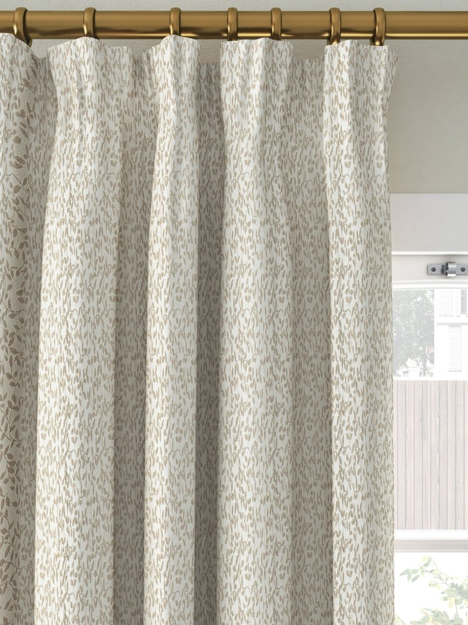 John Lewis & Partners Ivy Leaf Pair Lined Pencil Pleat Curtains, Putty