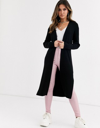 Asos Design DESIGN knit maxi cardigan-Black