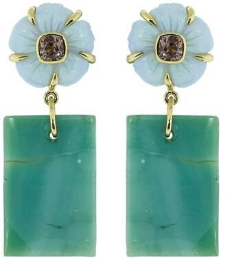 GUITA M 18kt yellow gold Guita flower opal and pink sapphire drop earrings