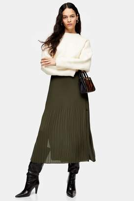 Topshop Khaki Pleat Side Button Midi Skirt