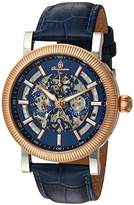 Burgmeister Men's Automatic Stainless Steel and Leather Casual Watch, Color:Blue (Model: BM221-333)